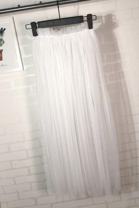 Summer Style Sheer Tulle Skirts A Line Tea Length High Waist Sexy Women See Through Skirt off white