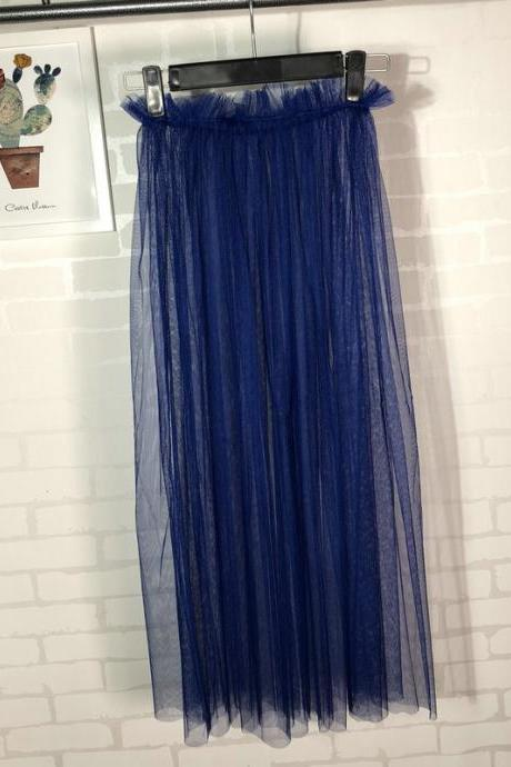 Summer Style Sheer Tulle Skirts A Line Tea Length High Waist Sexy Women See Through Skirt royal blue