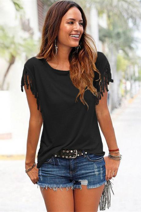 Women Tassel Casual T-Shirt Solid Color Basic Short Sleeve O-Neck Plus Size Summer Tops black