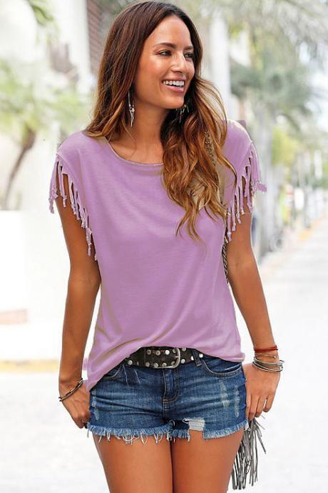 Women Tassel Casual T-Shirt Solid Color Basic Short Sleeve O-Neck Plus Size Summer Tops lilac