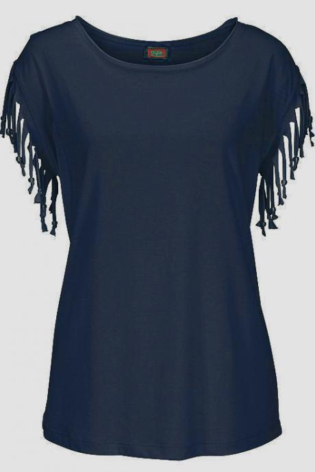 Navy Blue Round Neck Basic Casual T-Shirt with Short Sleeves and Tassel Fringe