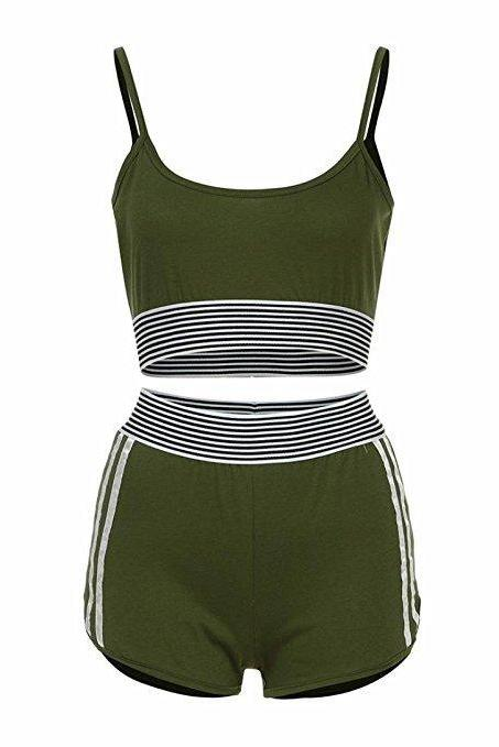 Fashion Summer Two Pieces Sets Crop Top+ Shorts Suit Striped Women Tracksuit Sportwear Outfits army green