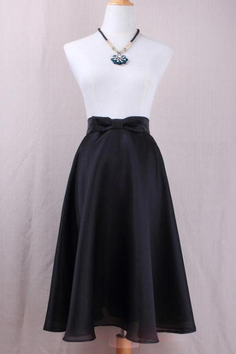 Black Bow Accent High Rise Midi Ruffled Skater Skirt