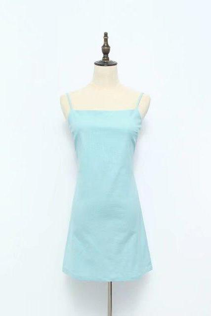 Women Summer Beach Dress Sexy Spaghetti Strap Sleeveless Tie Back Bow Casual Slim Mini Party Sundress baby blue
