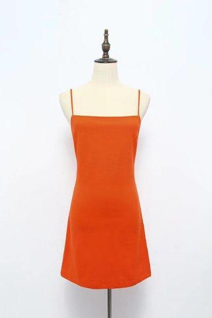 Women Summer Beach Dress Sexy Spaghetti Strap Sleeveless Tie Back Bow Casual Slim Mini Party Sundress orange