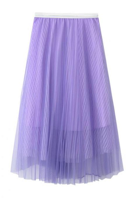 New Summer High Waist Midi A Line Skirt Women Striped Tulle Pleated Skirt lilac