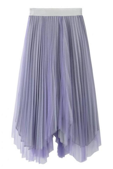 Women Midi Skirt Summer Asymmetrical High Waist Shiny A-Line Long Tulle Pleated Skirt lilac