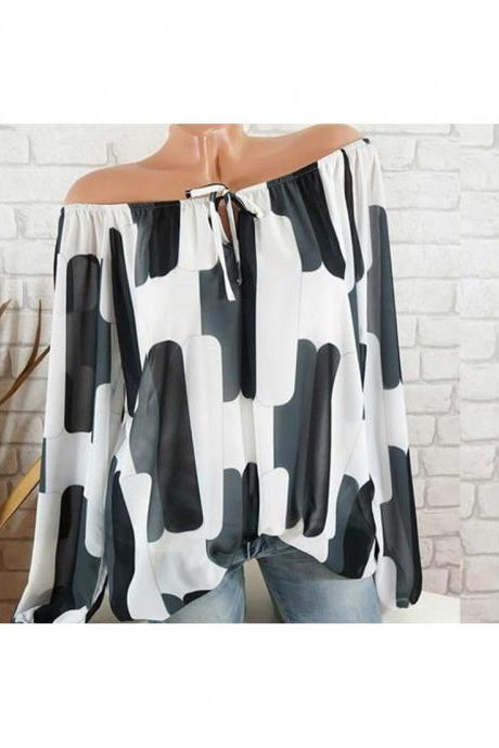 Off the Shoulder Chiffon Shirt Long Sleeve Casual Women Loose Blouse Summer Tops off white
