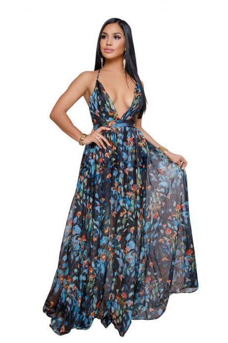 Sexy Deep V Backless Beach Maxi Dress Women Summer Chiffon Tunic Holiday Floral Print Long Dress5#