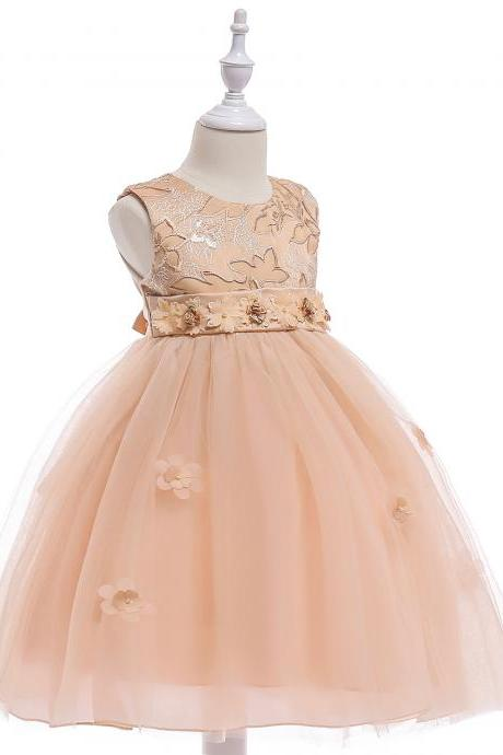 Embroidery Flower Girl Dress Belted Communion Party Tutu Gown Pastoral Children Clothes champagne