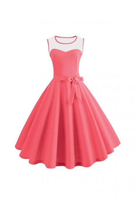 Women Sleeveless Casual Dress Mesh Patchwork O-Neck Belted A-Line Work Party Dress coral