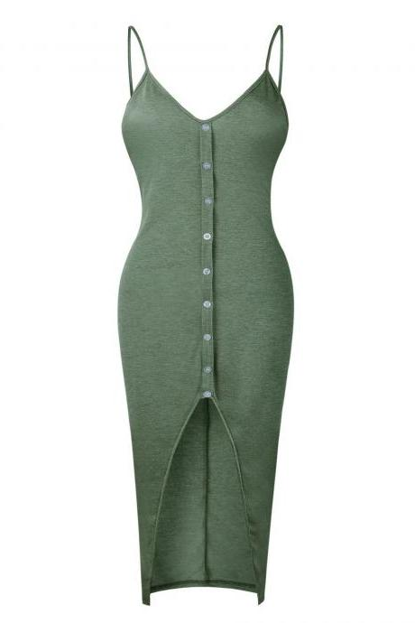 Women Bodycon Dress Front Split Casual Spaghetti Strap Sleeveless Button Skinny Fit Club Party Dress gray green