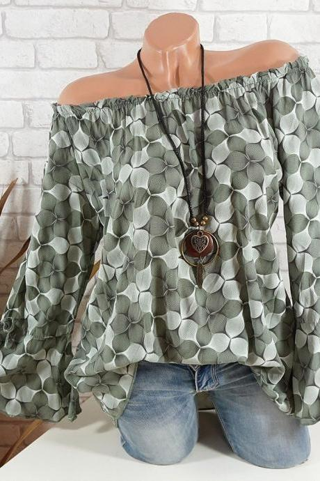 Off the Shoulder Top Women Office Work Floral Print Flare Sleeve Blouse Casual Loose Shirt army green