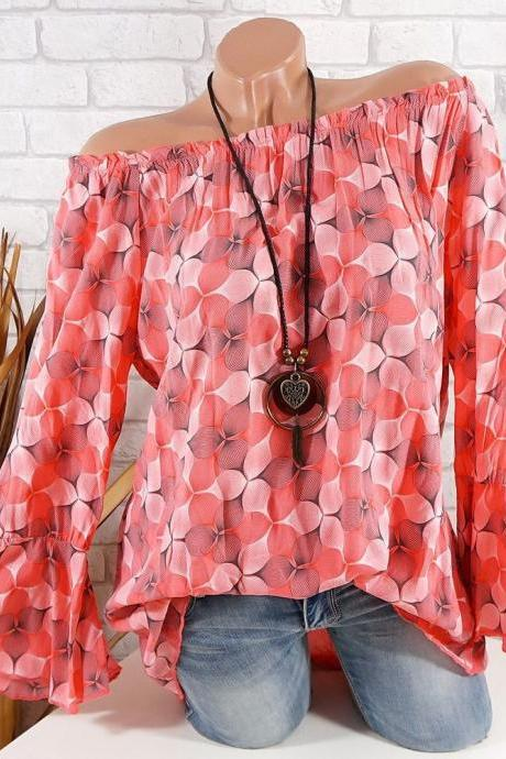 Off the Shoulder Top Women Office Work Floral Print Flare Sleeve Blouse Casual Loose Shirt red