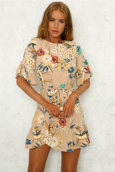 Bohemian Floral Printed Summer Dress Women O-Neck Short Sleeve Ruffle Mini Belted Beach Dress khaki