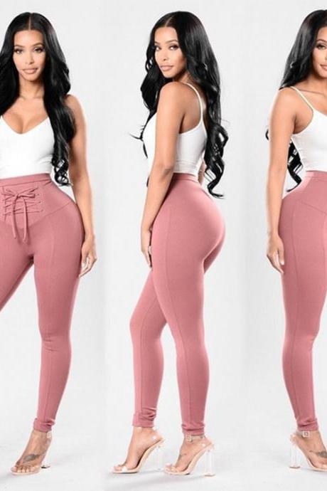 Women High Waist Skinny Legging Elastic Lace Up Fitness Sporting Bandage Pencil Pants pink