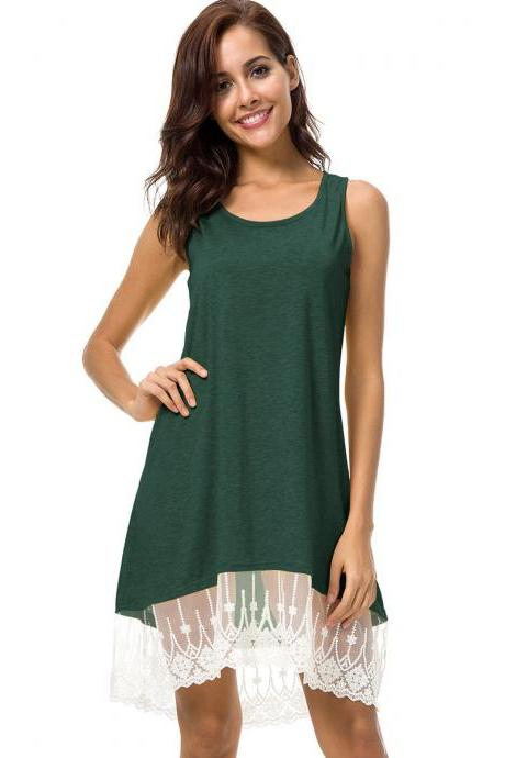 Army Green Scoop Neckline Shift Dress with Lace Hemline