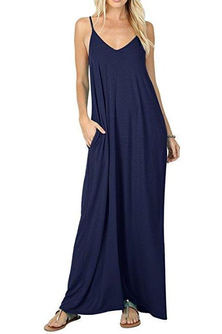 Navy Blue Spaghetti Strap V-Neck Loose Casual Maxi Dress with Pockets