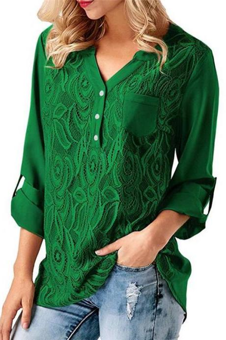 Women Tunic Chiffon Loose Blouse Floral Lace V Neck Long Sleeve Work OL Ladies Top Shirts green