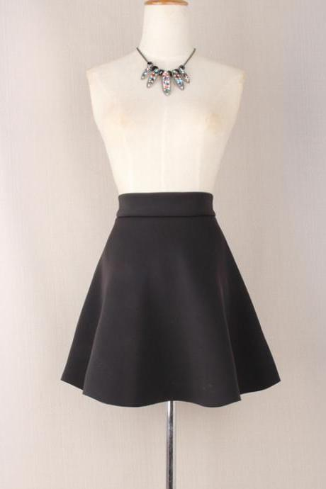 Black High Waisted Short Skater Skirt