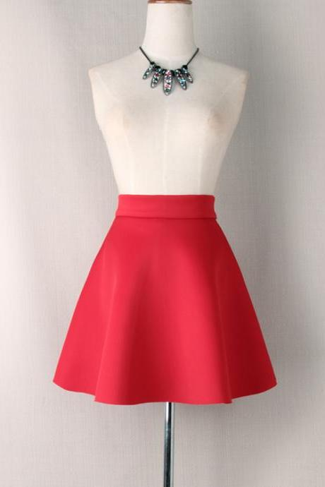 Red High Rise Short Skater Skirt
