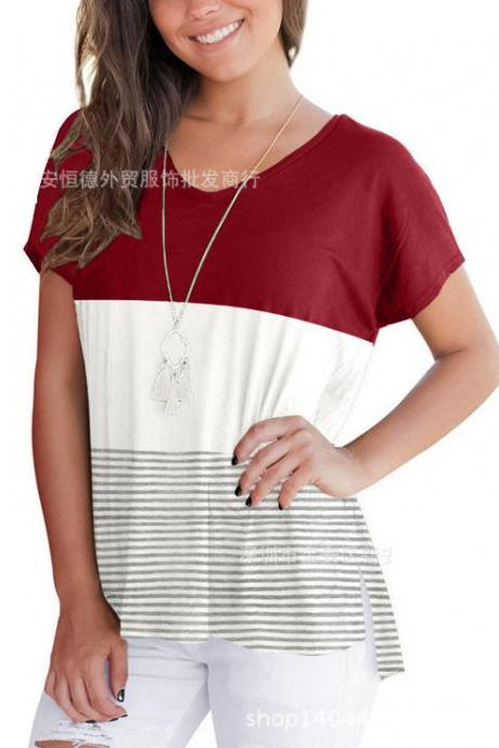 Summer Women T-shirt Short Sleeve Striped Patchwork Casual Girls Basic Tee Tops wine red
