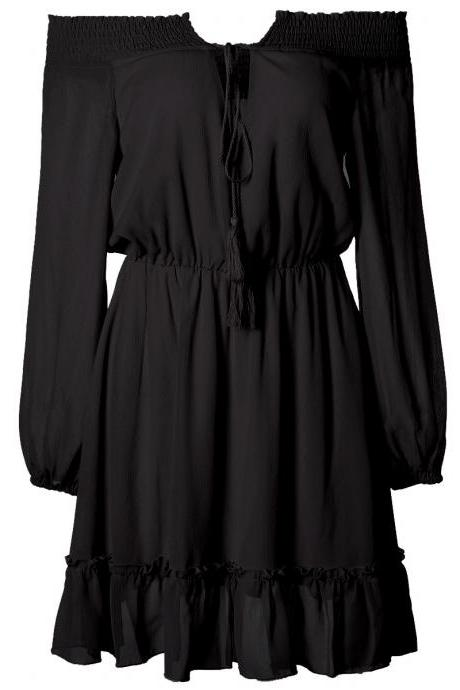 Black Off-The-Shoulder Chiffon Summer Casual Short Dress with Long Sleeves