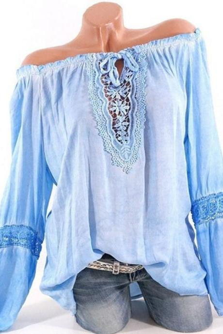 Women Casual Loose Blouse Hollow Lace Patchwork V Neck Long Sleeve Solid Shirt Plus Size Tops light blue