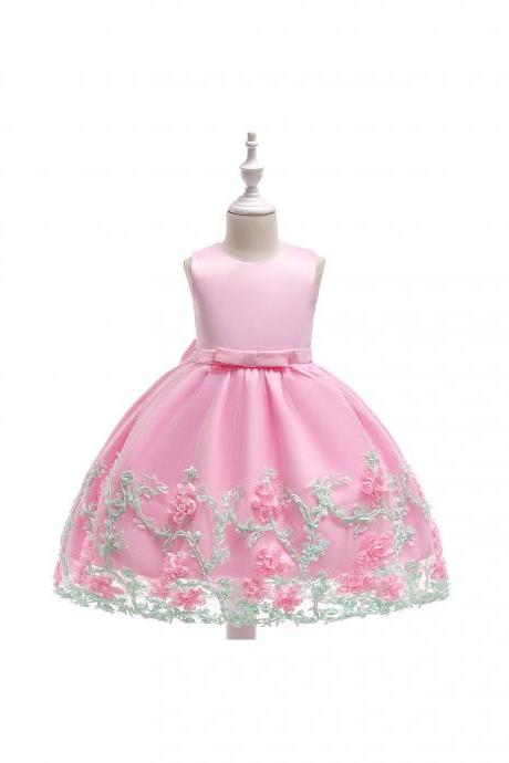 New Flower Girl Dress Birthday Prom Party Formal Tutu Gown Children Clothes pink
