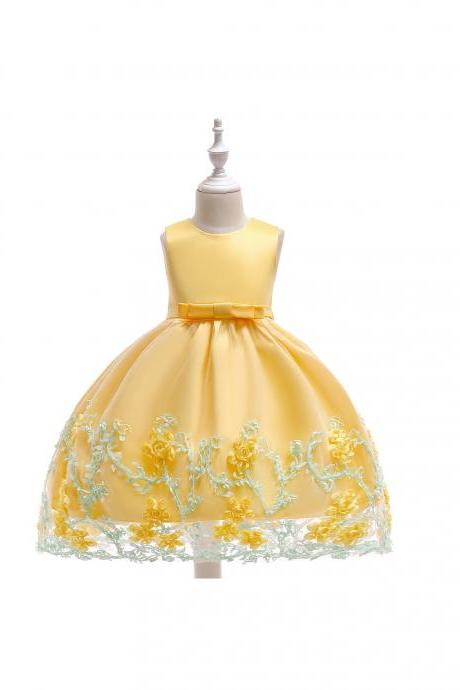 New Flower Girl Dress Birthday Prom Party Formal Tutu Gown Children Clothes yellow