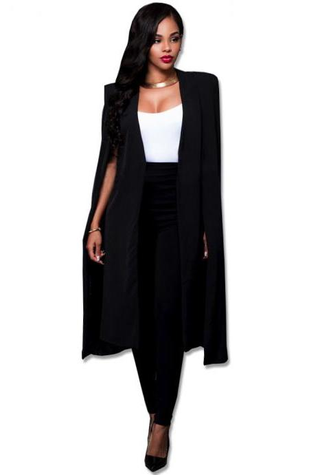 Women Long Cloak Blazer Coat Cape Cardigan Jacket Slim Office Simple OL Suit Coat Outwear black