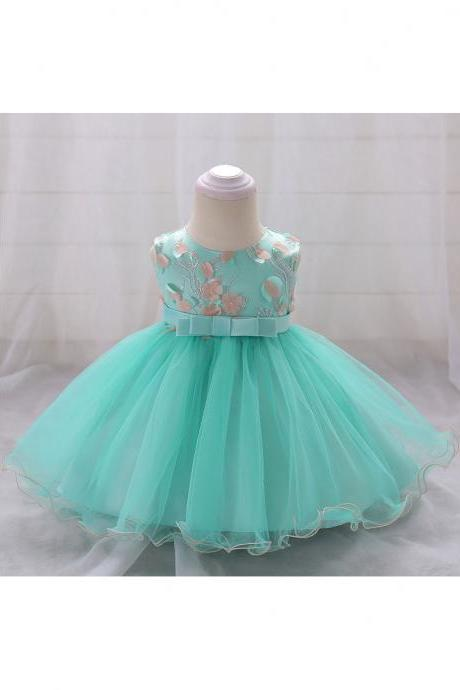 Floral Flower Girls Dress Infant Baby Birthday Baptism Party Gown Kids Clothes Aqua