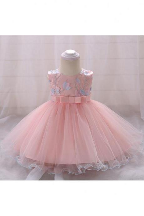 Floral Flower Girls Dress Infant Baby Birthday Baptism Party Gown Kids Clothes Salmon