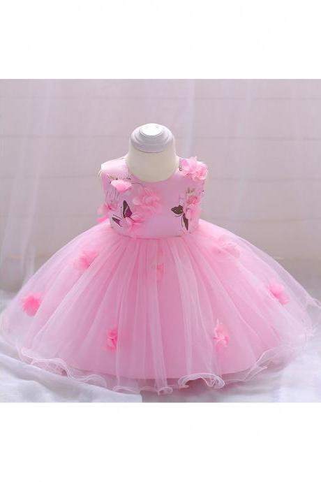 Infant Baby Girls Casual Summer Dress Floral Birthday Evening Party Gown Kids Clothes pink