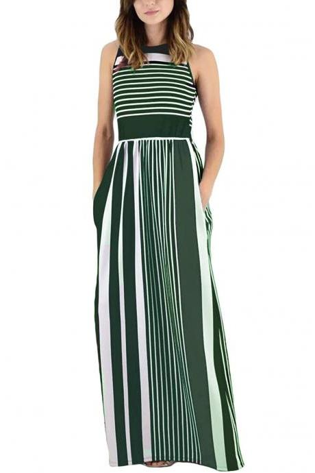 Women Striped Maxi Dress Sleeveless Pocket High Waist Summer Boho Beach Long Dress green