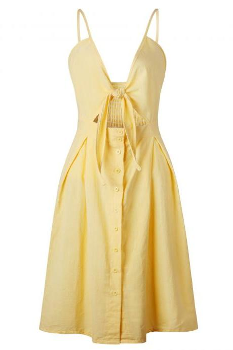 Sexy Bow Beach Summer Casual Dress Backless Button Spaghetti Strap V Neck Boho Midi Sundress 0723-yellow