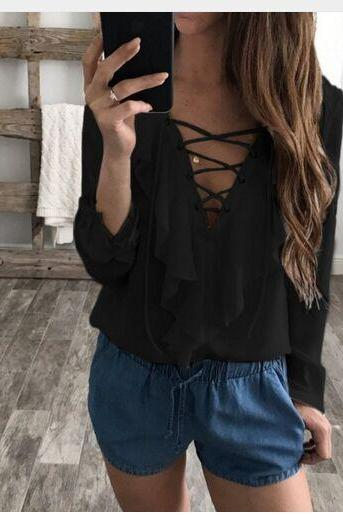 Women Chiffon Blouse Summer Lace Up V Neck Ruffles Long Sleeve Polka Dot Casual Plus Size Tops Shirt black