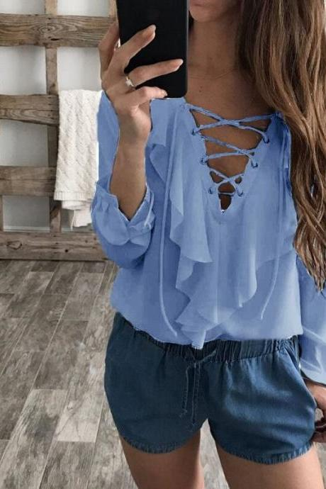 Women Chiffon Blouse Summer Lace Up V Neck Ruffles Long Sleeve Polka Dot Casual Plus Size Tops Shirt sky blue