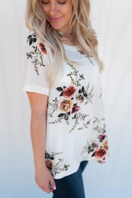 New Summer Women T Shirt Casual Short Sleeve Plus Size Floral Printed Loose Tee Top off white