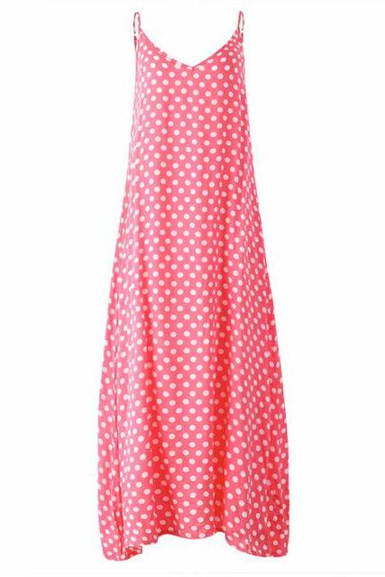Women Summer Beach Maxi Dress Plus Size Spaghetti Strap Sleeveless Polka Dot Loose Long Sundress pink