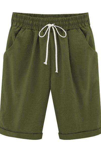 Plus Size Summer Woman Half Pants Mid Waist Drawstring Lady Casual Haren Short Trousers army green