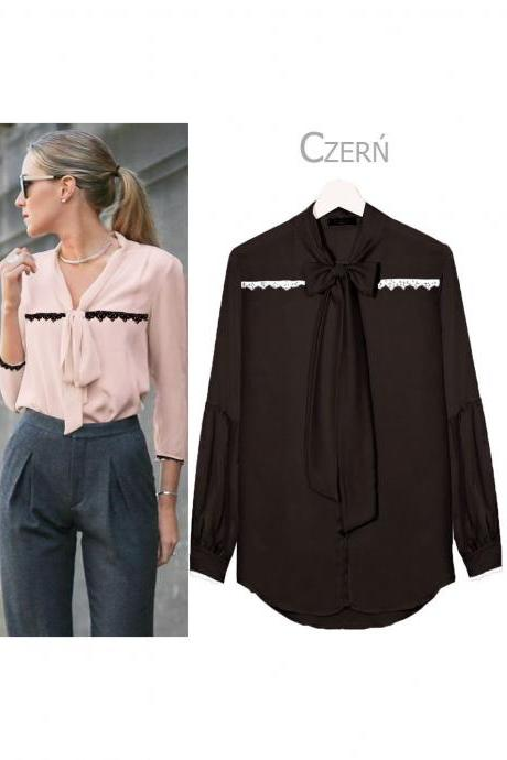 Women V Neck OL Office Blouse Long Sleeve Tie Bow Lace Casual Female Tops Shirt Black
