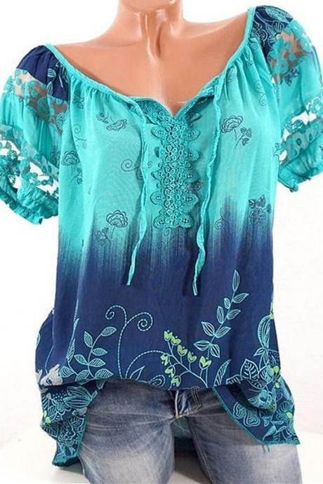 Plus Size Women Blouse Summer Hollow Out Lace Patchwork V Neck Tie Bohemian Floral Shirts aqua
