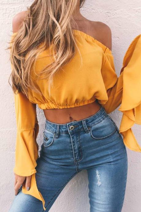 Yellow Off-The-Shoulder Casual Crop Top with Long Flared Sleeves