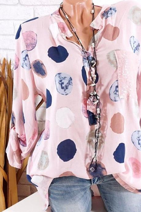 Women Polka Dot Blouse V Neck Long Sleeve Plus Size Casual Work Office Lady Tops Shirt pink