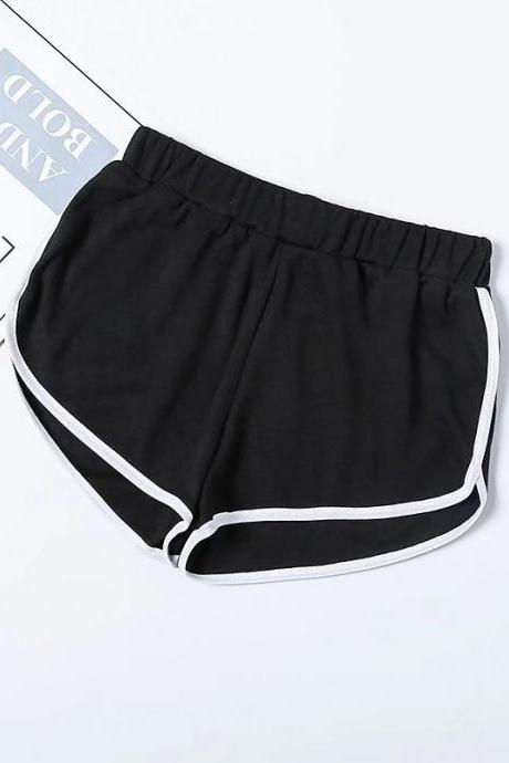 Women Summer Shorts Elastic Waist Streetwear Loose Letter Printed Soft Cotton Casual Shorts black