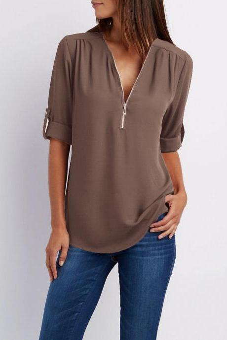 Sexy V Neck Chiffon Blouse Long Sleeve Zipper Plus Size Streetwear Casual Loose Top T-Shirt coffee
