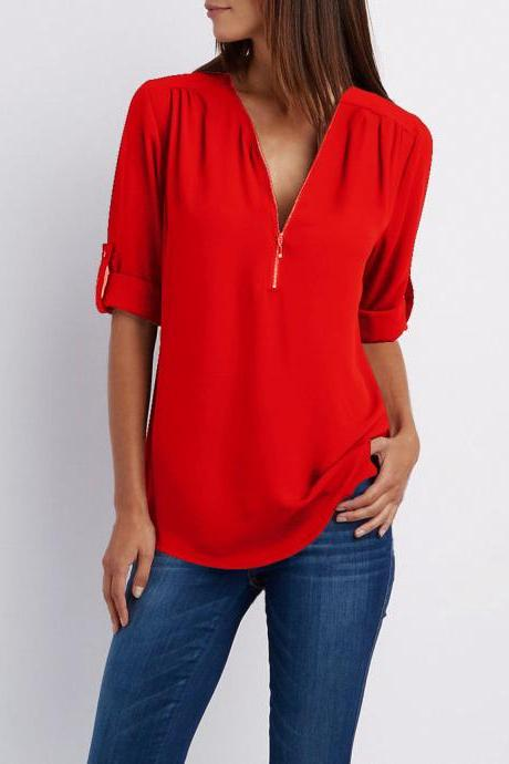 Sexy V Neck Chiffon Blouse Long Sleeve Zipper Plus Size Streetwear Casual Loose Top T-Shirt red