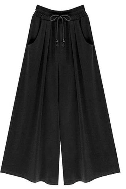Women Wide Leg Pants Summer High Waist Pockets Office Plus Size Loose Casual Trousers black