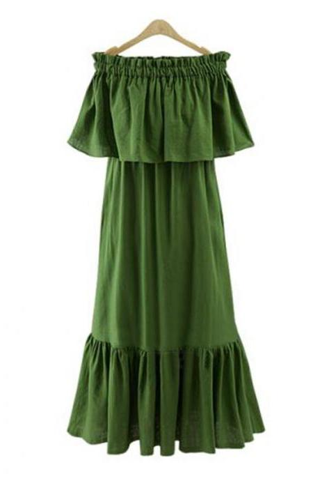 Green Ruffled Off-The-Shoulder Shift Maxi Dress, Summer Beach Dress
